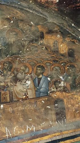 Voskopojë, fresques extérieures de la basilique Saint-Athanase à Voskopojë © Didier Lafleur