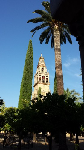 Le clocher de la Mezquita et le jardin des orangers © Didier Lafleur
